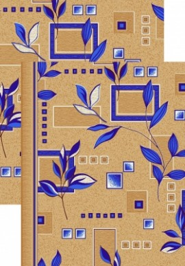 Палас Ветви 1166/37 бежево-синий